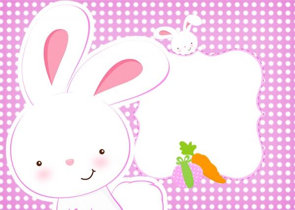 Convite Páscoa Coelhinho Cute Rosa 2