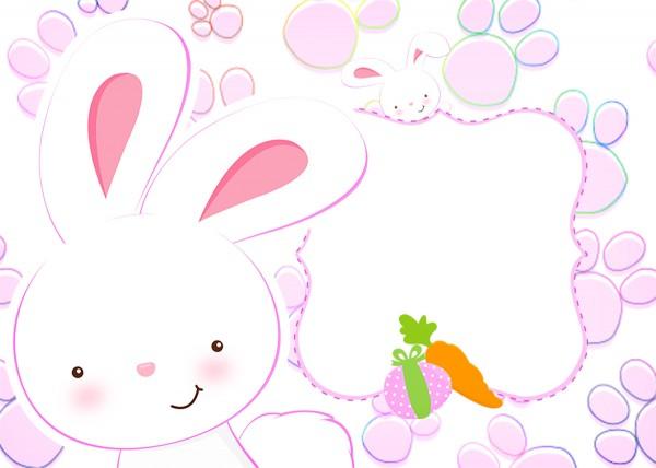 Convite Páscoa Coelhinho Cute Rosa 3