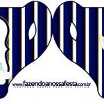 Convite Xícara Batizado Menino Azul Marinho e Branco