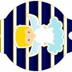 Convite Xícara Batizado Azul Marinho Anjinho Loiro