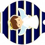 Enfeite Canudinho Batizado Menino Azul Marinho e Branco