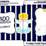 Convite, Cardápio ou Cronograma em Z Batizado Azul Marinho Anjinho Loiro