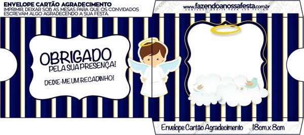 Envelope Cartão Agradecimento Batizado Menino Azul Marinho e Branco