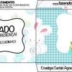 Envelope Cartão Agradecimento Páscoa Coelhinho Cute Azul