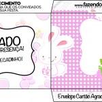 Envelope Cartão Agradecimento Páscoa Coelhinho Cute Rosa