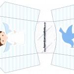 Envelope Fritas Batizado Azul Claro