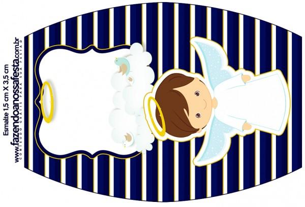 Esmalte Batizado Menino Azul Marinho e Branco