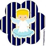 Flor Batizado Azul Marinho Anjinho Loiro