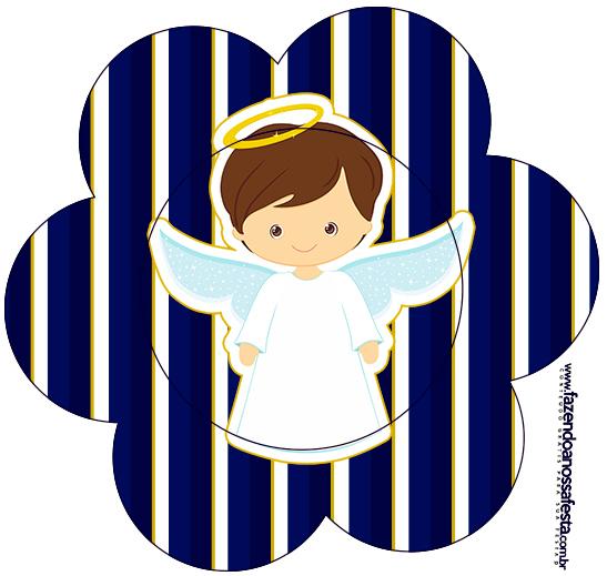 Flor Batizado Menino Azul Marinho e Branco