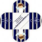 Forminhas Docinhos Batizado Menino Azul Marinho e Branco