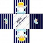 Forminhas Docinhos Quadrada Batizado Azul Marinho Anjinho Loiro