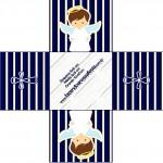 Forminhas Docinhos Quadrada Batizado Menino Azul Marinho e Branco