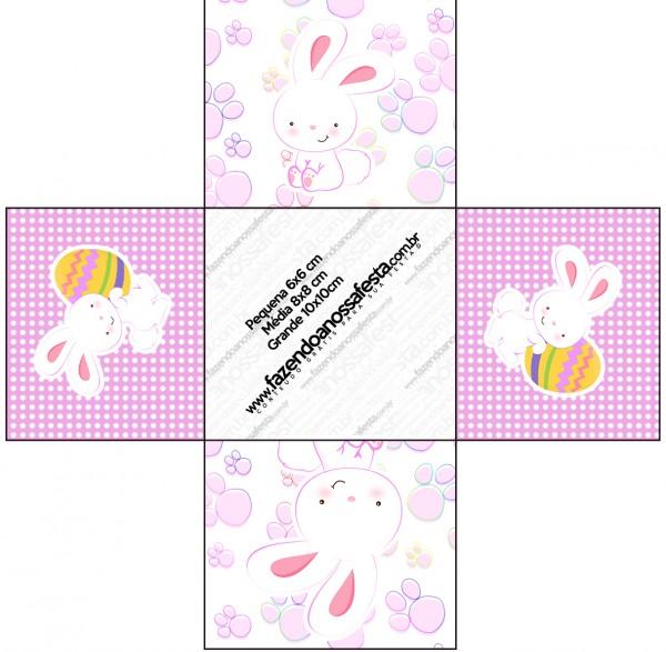 Forminhas Docinhos Quadrada Páscoa Coelhinho Cute Rosa