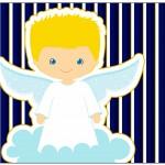 Frame Batizado Azul Marinho Anjinho Loiro