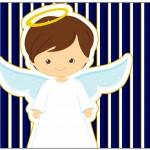 Lata de Leite Batizado Menino Azul Marinho e Branco