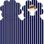 Marcador de Páginas Batizado Menino Azul Marinho e Branco