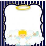 Marmita Pequena Batizado Azul Marinho Anjinho Loiro