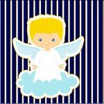 Mini Confeti Batizado Azul Marinho Anjinho Loiro
