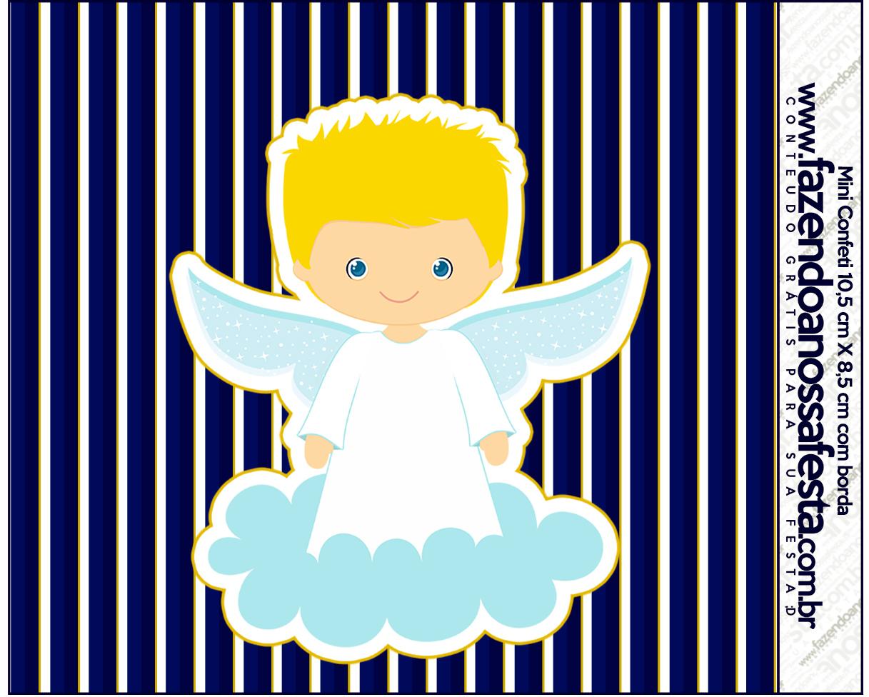 Mini Confeti Batizado Azul Marinho Anjinho Loiro Fazendo A Nossa