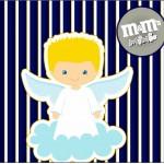 Mini M&M Batizado Azul Marinho Anjinho Loiro