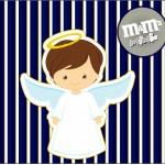 Mini M&M Batizado Menino Azul Marinho e Branco