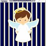 Molde Quadrado Batizado Menino Azul Marinho e Branco