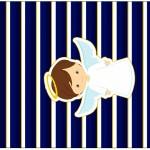 Pé de Moleque Yoki Batizado Menino Azul Marinho e Branco