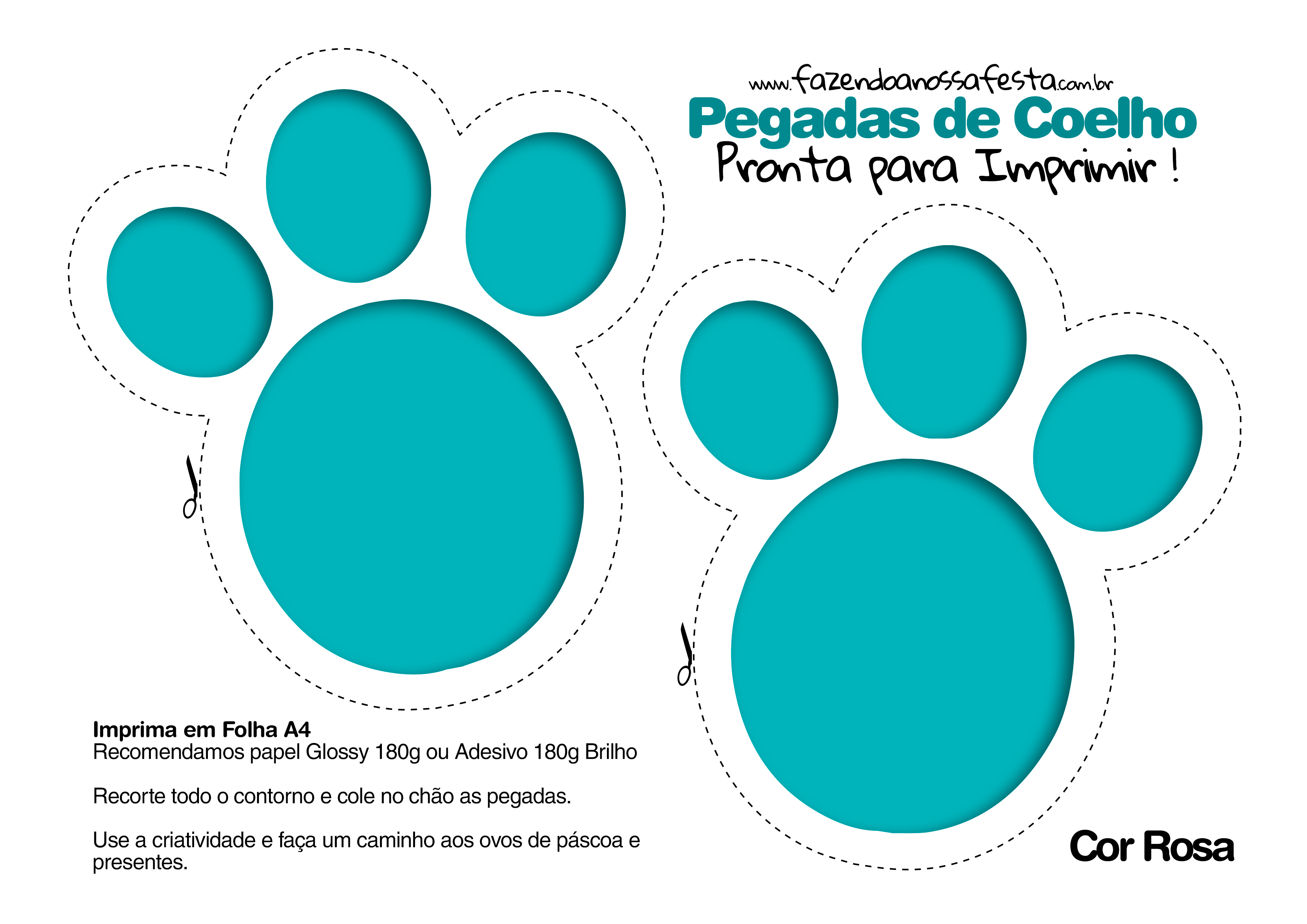 Pegadas De Coelho Para Imprimir Azul Fnf Blog Fazendo A Nossa Festa