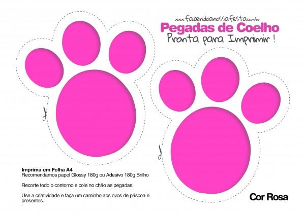 Pegadas de Coelho para Imprimir Rosa