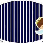 Placa Batizado Menino Azul Marinho e Branco