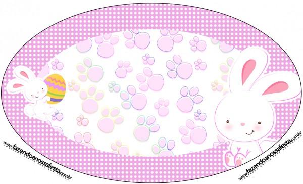 Placa Elipse Páscoa Coelhinho Cute Rosa