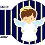 Porta Guardanapos Batizado Menino Azul Marinho e Branco