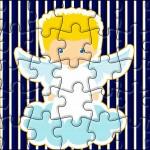 Quebra-cabeça Batizado Azul Marinho Anjinho Loiro
