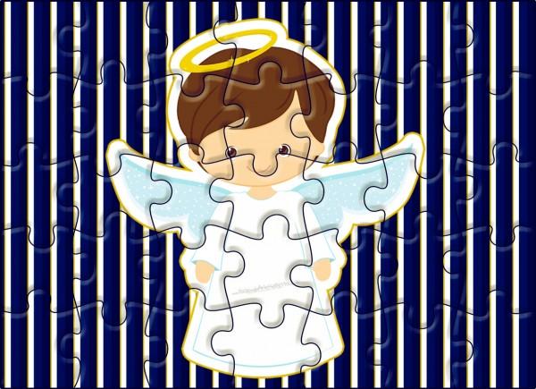 Quebra-cabeça Batizado Menino Azul Marinho e Branco