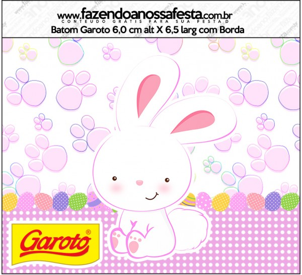 Rótulo Batom Garoto Páscoa Coelhinho Cute Rosa