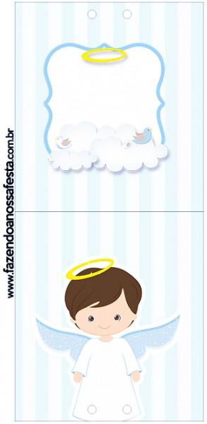 Rótulo Pirulito Batizado Azul Claro