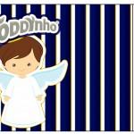 Rótulo Toddynho Batizado Menino Azul Marinho e Branco