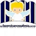 Saias Wrappers para Cupcakes Batizado Azul Marinho Anjinho Loiro