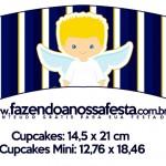 Saias Wrappers para Cupcakes Batizado Azul Marinho Anjinho Loiro 5