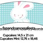 Saias Wrappers para Cupcakes Páscoa Coelhinho Cute Azul