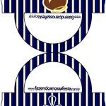 Saquinho de Balas Bolsinha Batizado Menino Azul Marinho e Branco