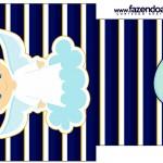 Saquinho de Chá Batizado Azul Marinho Anjinho Loiro