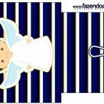Saquinho de Chá Batizado Menino Azul Marinho e Branco