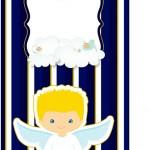 Tag Agradecimento Batizado Azul Marinho Anjinho Loiro