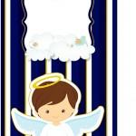 Tag Agradecimento Batizado Menino Azul Marinho e Branco