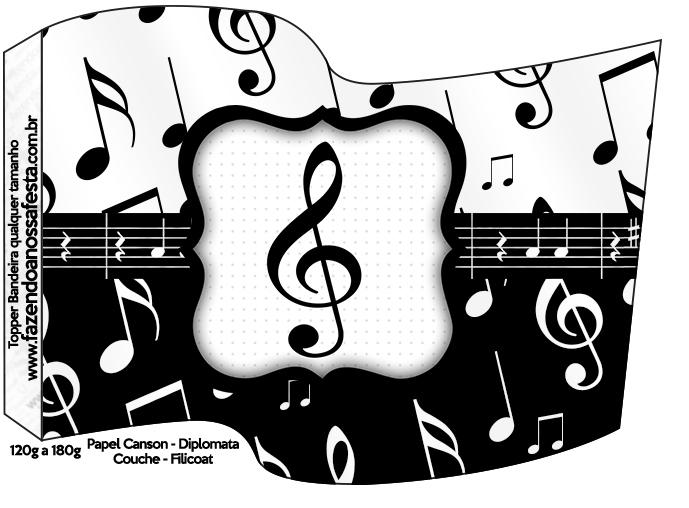 Bandeirinha Sanduiche Notas Musicais 2  Fazendo a Nossa Festa