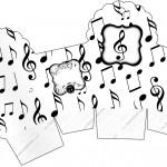 Caixa Cupcake Notas Musicais
