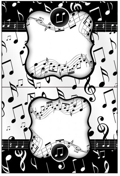 Cartão Agradecimento de Mesa Notas Musicais