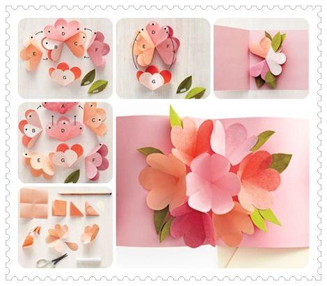 Cartão Flor Pop Up para o dia das Mães