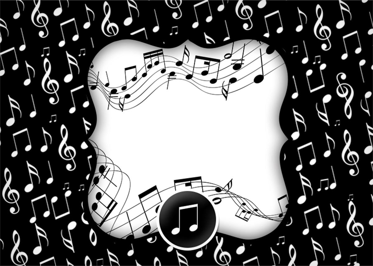 Convite, Cartão Notas Musicais  Fazendo a Nossa Festa